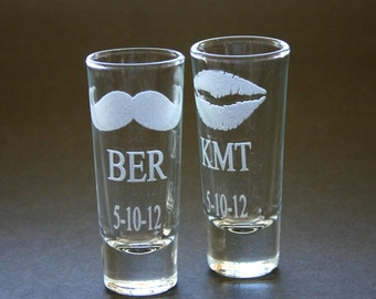 Custom Etched Shot Glasses Personalized Set of 2 Weddings His and Hers Lips Moustache