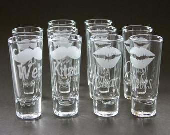 Custom Etched Shot Glasses Personalized Set of 10 Weddings His and Hers Groomsmen Bridesmaid
