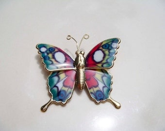 Vintage Metal Butterfly Pin brooch Pink white Green and Blue