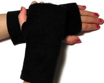 KIDS Fingerless Gloves, Mittens (Size XS - XL) - Black Fleece