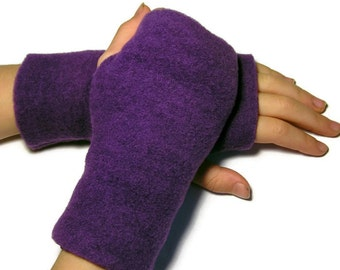 KIDS Fingerless Gloves, Mittens (Size XS - XL) - Purple Fleece