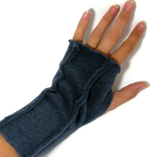 Fingerless Gloves for LADIES - Soft Navy Blue Sweater Fleece (Insides Out)