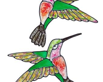 Colorful Hummingbird Window Clings