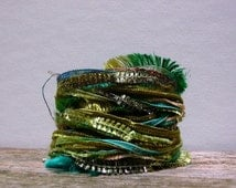 central park fiber effects™  12yds specialty ribbon art yarn bundle  . turquoise sky blue moss olive grass green