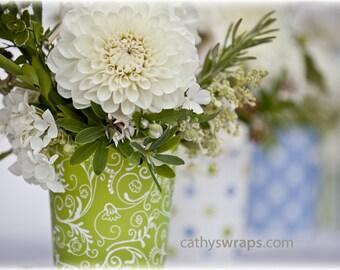 6 Polka Dot, Stripe & Damask Flower Vases, Flower Pots - Table Decoration, Baby Shower, Bridal Shower, Christening, Bar Mitzvah, Centerpiece