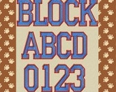 College Varsity Machine Embroidery Font 3 Sizes
