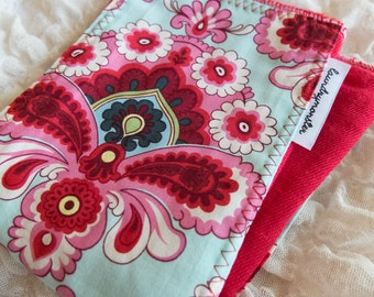 Baby burp cloth - French wallpaper red and pink hand dyed burp cloth