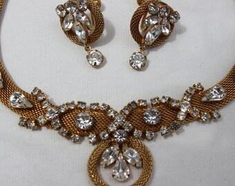Vintage Rhinestone Goldtone Necklace and Earrings