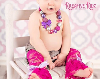 Cake smash 4pc set { Berry Beauty } first Birthday outfit, Gray lavender, fuchsia lace leggings, lace bloomers, baby girl photography prop