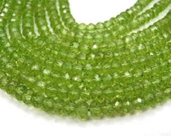 Peridot Gemstone Faceted Rondelles, 3mm  Your Choice Semi Precious Gemstone. (aper2)