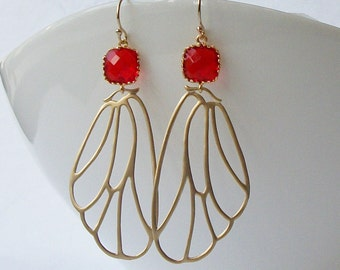 Red Crystal Gold Butterfly Wing Earrings