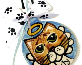 Custom dog or cat handmade pottery ornament from a photo of your pet angel style