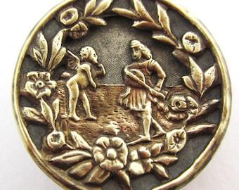 antique button brass chrerubs Cupid