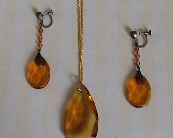 Czech Art Deco Art Nouveau Amber Glass Prisms Demi Parure Necklace Pendant Screwback Earrings