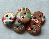 Copper, Red and Green Mokume Gane Buttons  No. 219
