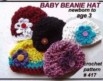 CROCHET PATTERN HAT- crochet pattern for kids - babies,  num 417. pdf crochet beanie pattern  ok to sell your hats, instant digital download