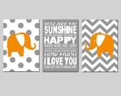 Orange Gray Nursery Art Elephant Sunshine Trio - Set of Three 13x19 Prints - You Are My Sunshine - CHOOSE YOUR COLORS