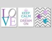 Baby Girl Nursery Decor Art Trio - Love, Keep Calm and Dream On, Chevron Birds - Set of Three 11x14 Prints - CHOOSE YOUR COLORS