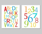 Set of Two 8x10 Prints - Alphabet and Numbers - Modern Nursery - Kids Wall Art - CHOOSE YOUR COLORS