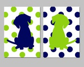 Polka Dot Puppy Dog Nursery Art - Set of Two 5x7 Prints - CHOOSE YOUR COLORS - Shown in Navy Blue and Lime Green