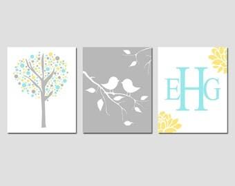 Bird Nursery Art Trio - Set of Three 11x14 Prints - Baby Birds on a Branch, Floral Monogram, Tree Dot - CHOOSE YOUR COLORS