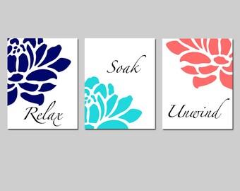Navy Aqua Coral Floral Bathroom Art - Set of Three 8x10 Prints - Relax, Soak, Unwind - Flowers - Petals - Bathtub - Spa - CHOOSE YOUR COLORS