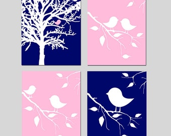 Navy Blue Pink Baby Girl Nursery Decor Nursery Art - Baby Birds in a Tree Nature Theme - Set of Four 11x14 Prints - CHOOSE YOUR COLORS
