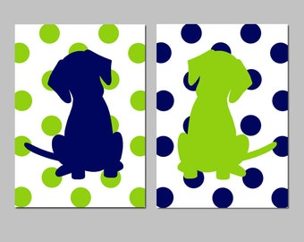 Polka Dot Puppy Dog Nursery Art - Set of Two Prints - CHOOSE YOUR COLORS - Shown in Navy Blue and Lime Green
