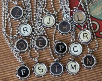 TYPEWRITER KEY Initial Pendant Alphabet Letters- Monogram- Personalized- Steampunk Style