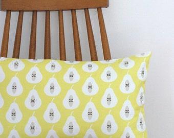 Yellow Pear Print Throw Cushion Cover Pillow Sham