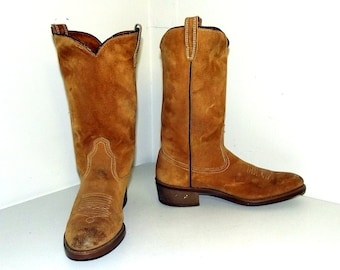 Vintage Tan Brown  Suede Wolverine  Cowboy Boots size 9 D or cowgirl size 10.5