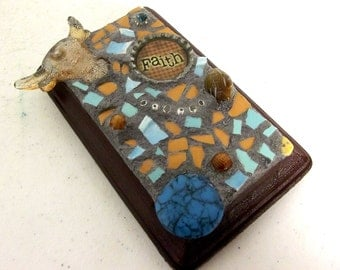 Faith Mosaic  Art Assemblage - Brown and Turquoise - western decor