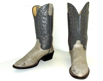 Vintage Cowboy Boots -- Two tone grey size 10.5 D or Cowgirl size 12