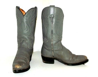 Broken In Grey Leather Cowboy Boots size 8.5 EE or cowgirl size 10 wide width