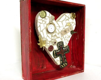 Red and Tan Heart assemblage with cross - mosaic sculpture