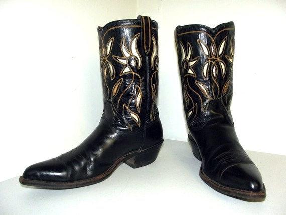 sold to mfw vintage black cowboy boots by honeyblossomstudio