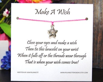 Make A Wish - Fancy Star Charm - Wish Bracelet - Shown In PERFECT PINK - Over 100 Different Colors Are Also Available