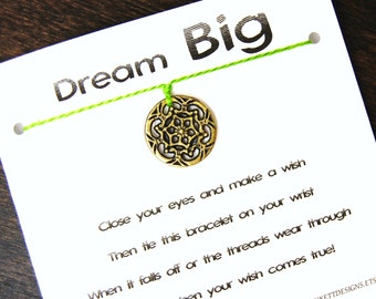Dream Big - Antique Gold Dreamcatcher Charm - Wish Bracelet - Shown In GRASS - Over 100 Different Colors Are Also Available