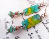 Caribbean blue and yellow rustic copper patina grunge earrings