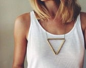 Hand cut Brass Triangle Necklace - green and gold metal chain, hand cut brass, triangle, geometric, minimalist, By Corrieberrypie