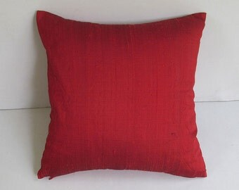 bright red dupioni silk pillow cover decorative caution  cover 18 inch throw pillow