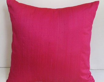 Hot pink dupioni silk pillow cover silk throw pillow. custom  made  pillow  cover  18inch.