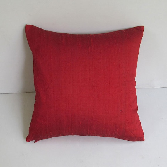bright red dupioni silk pillow cover. decorative throw pillow