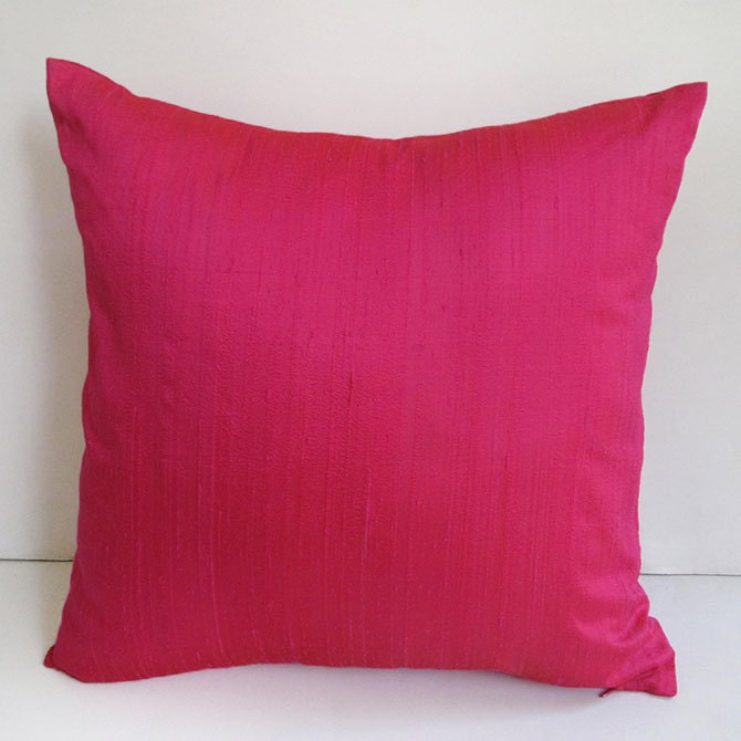 Hot pink dupioni silk pillow cover silk throw pillow. custom