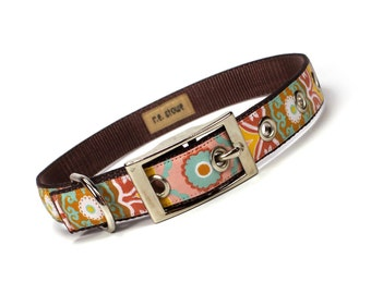 suzani tapestry metal buckle dog collar (3/4 inch)