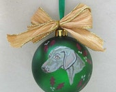 "Hand-Painted WEIMARANER 3"" Christmas Ball Ornament GORGEOUS! Choose Green or Purple"