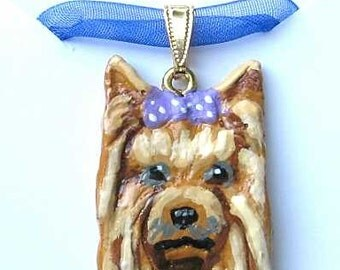 Dog Breed YORKSHIRE TERRIER/Yorkie Handpainted Clay Necklace/Pendant  CHOOSE Red or Purple Color Bow