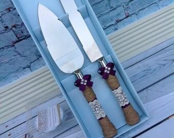 PLUM / Wedding cake knife set / burlap knife set / cake cutting set / rustic wedding / vintage lace wedding
