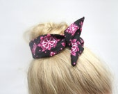 Fabric Bun Wrap, Black with Hot Pink Retro, Wire Hair Accessory for Buns or Pony Tails, Teen-Girl-Woman