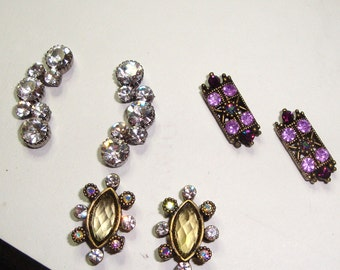 Antique Brass Rhinestone set charms sliders by Carol Wall on ETSY DESTASHING CLEARANCE